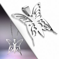 Pendentif papillon charme en acier inoxydable