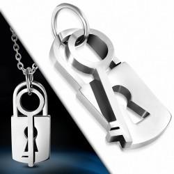 Pendentif double clef et cadenas en acier