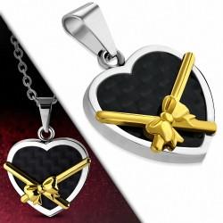 Pendentif cœur acier noir et ruban doré