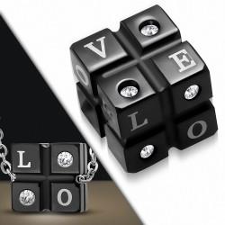 Pendentif en acier noir monogramme LOVE strass