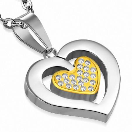Pendentif double cœur acier argenté et doré strass