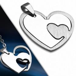 Pendentif double cœur en acier inoxydable