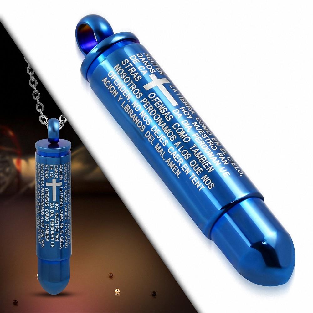 Pendentif cylindre aen acier bleu croix prières