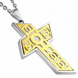 Pendentif croix géométrique symbole féminin doré