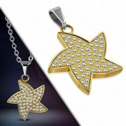 Pendentif étoile de mer en acier doré pavé de strass