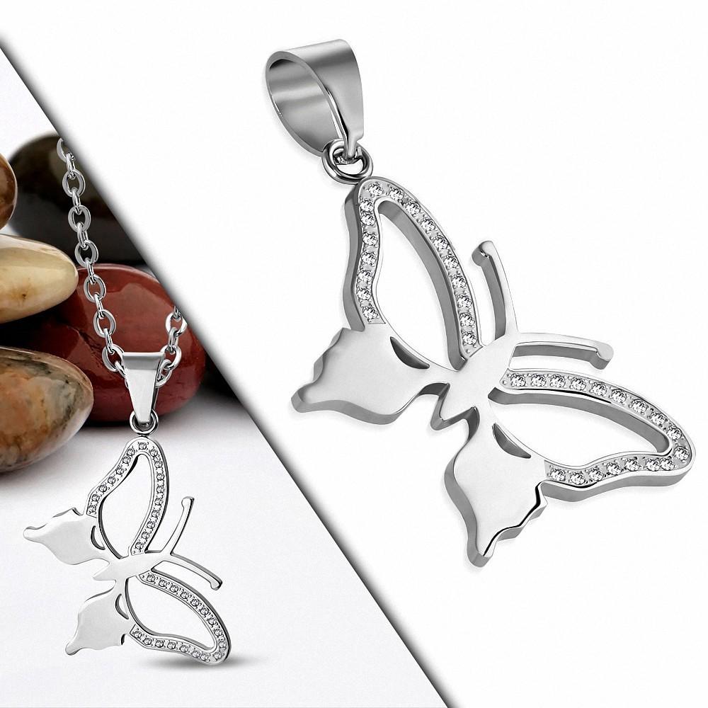 Pendentif papillon élégant en acier avec gemmes