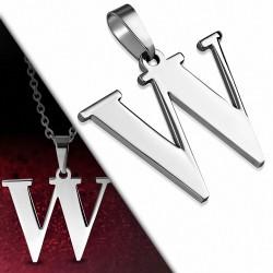 Pendentif en acier inoxydable lettre W