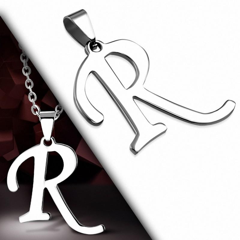 Pendentif en acier inoxydable lettre script R