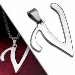 Pendentif en acier inoxydable lettre script V