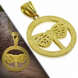 Pendentif en acier doré cercle et papillon sablé