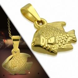 Pendentif poisson en acier inoxydable doré