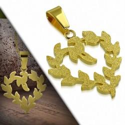 Pendentif en acier doré effet sablé fleurs de vigne