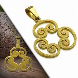 Pendentif floral en acier doré finition sablée