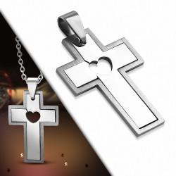Pendentif en acier inoxydable croix avec cœur au centre