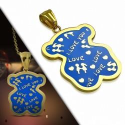 Pendentif teddy bear love en acier doré émaillé bleu