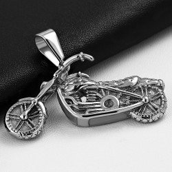 Pendentif homme biker en acier inoxydable moto sport