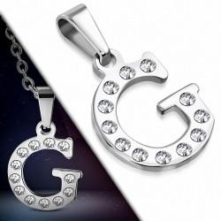 Pendentif en acier inoxydable serti de gemmes lettre G