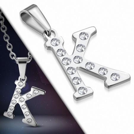 Pendentif en acier inoxydable serti de gemmes lettre K