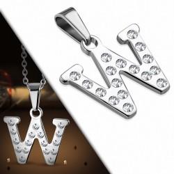 Pendentif en acier inoxydable serti de gemmes lettre W