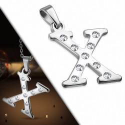 Pendentif en acier inoxydable serti de gemmes lettre X