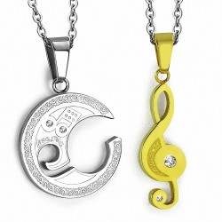 Pendentif couple musical deux parties clef de sol dorée