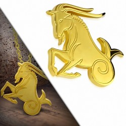 Pendentif zigne zodiaque en acier doré capricorne