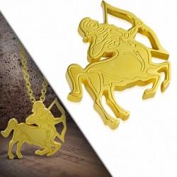 Pendentif zigne zodiaque en acier doré sagittaire
