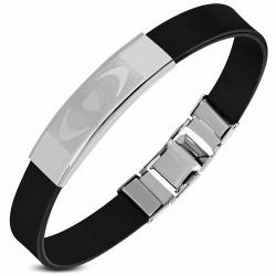 Bracelet en caoutchouc noir plaque avec 2 lunes et un cœur