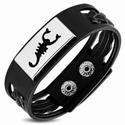 Bracelet en cuir PVC noir avec plaque acier scorpion zodiaque