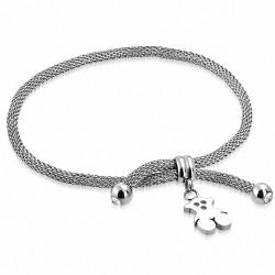 Bracelet en acier inoxydable avec charm ours en peluche