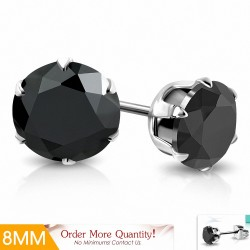 Paire de boucles d'oreille acier pierre zirconium noire 8 mm