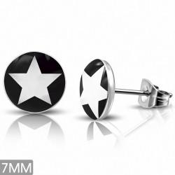 Paire de boucles d'oreille acier inoxydable étoile blanche