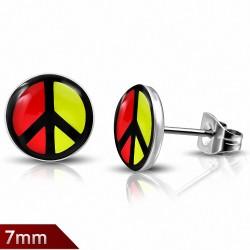 Paire de boucles d'oreille acier inoxydable signe de la paix