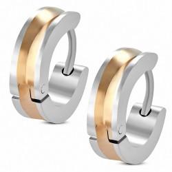 Paire de boucles d'oreille acier inoxydable centre cuivré