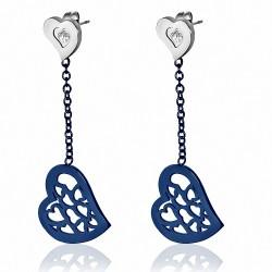 Paire de boucles d'oreille acier pendantes bleues