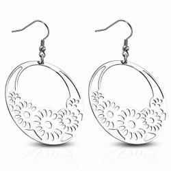 Paire de boucles d'oreille acier cercles fleurs filigrane