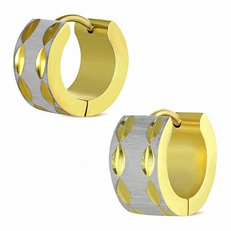 Paire de boucles d'oreille acier inoxydable finition satin doré