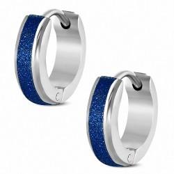 Paire de boucles d'oreille acier inoxydable finition sablée bleue
