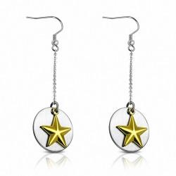 Paire de boucles d'oreille acier pendantes cercle étoiles dorées
