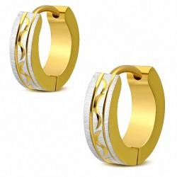 Paire de boucles d'oreille acier anneaux dorés motif celtique