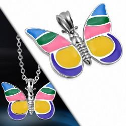 Pendentif en acier papillon avec émail multicolore