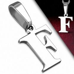 Pendentif homme en acier inoxydable lettre F