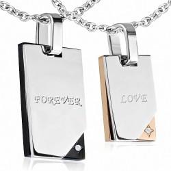 Deux pendentifs pour couple en acier inoxydable forever et love