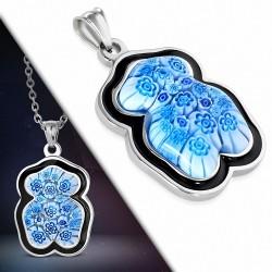 Pendentif en acier ourson avec verre et émail bleu