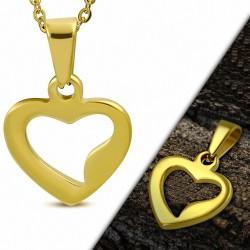 Pendentif cœur ouvert en acier inoxydable doré