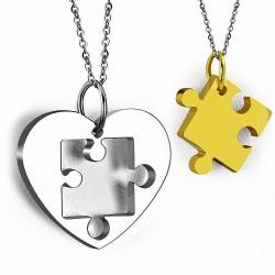 Pendentif pour couple en deux parties  cœur et puzzle doré
