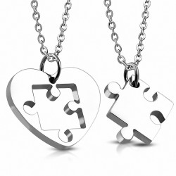 Pendentif pour couple en deux parties cœur et puzzle argenté
