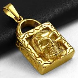 Pendentif homme biker cadenas doré et skull