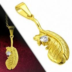 Pendentif en acier doré en forme de plumr serti d'un strass