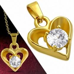 Pendentif en acier doré en forme de cœur serti d'une pierre